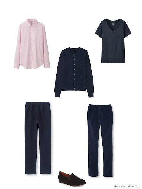 The first 6 items in a Starting From Scratch Wardrobe in navy, khaki, pink and blue