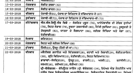 Punjab Matriculation (10th Class) Exam Time Table 2018