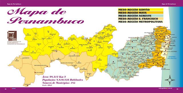 Mapa das regiões do estado de Pernambuco