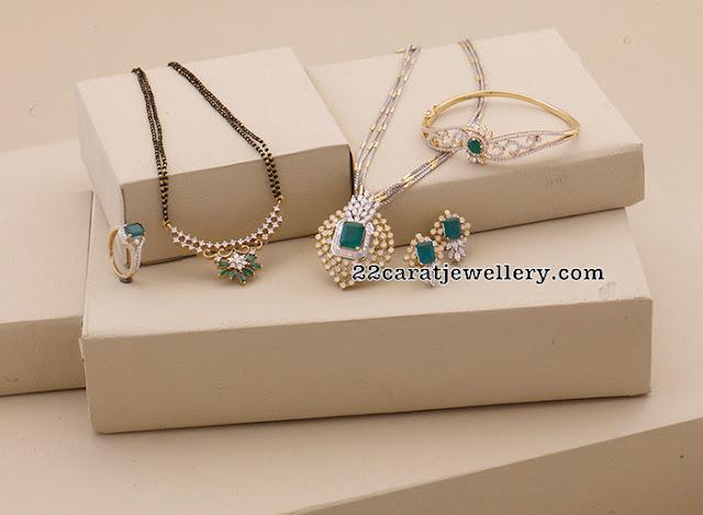 Regal Diamond Emerald Pendant Bracelet