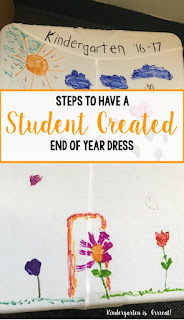 This activity is a keeper for years to come in my kindergarten classroom.  This dress is created by my students.  They made my teacher outfit for our end of year celebration.  See how easy this DIY dress is for classroom teachers!