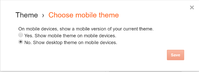 enable blogger theme in mobile view
