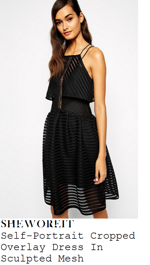 lucy-mecklenburgh-black-sheer-stripe-sleeveless-overlay-skater-dress