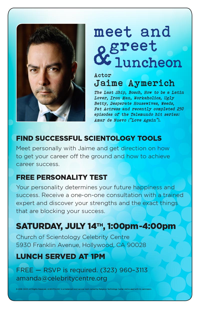 Jaime aymerich scientology celebrity saturday 14 july 2018 100 saturday 14 july 2018 100 pm meet and greet luncheon with jaime aymerich the last ship bosch how to be a latin lover iron man workaholics m4hsunfo