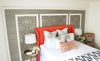 dormitorio en naranja y gris