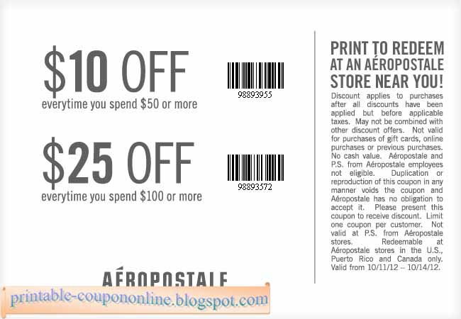 Aeropostale coupon code april 2018