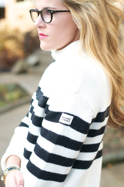 tortoiseshell glasses and striped Kate spade broome street sweater