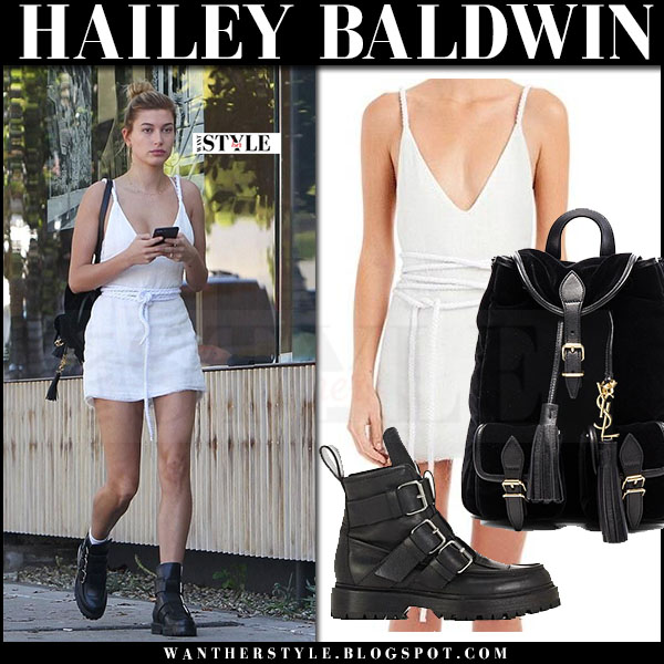 Hailey Baldwin in white mini dress are you am i and black ankle boots paco rabanne what she wore march 2017