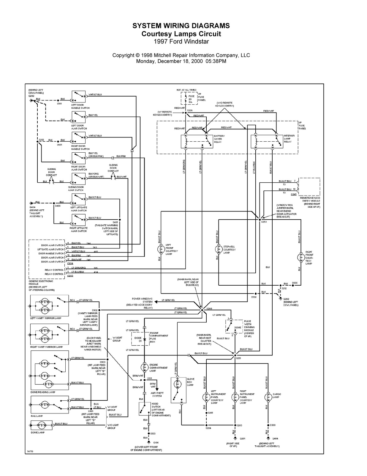 1997 ford windstar system wiring diagrams for front washer wiper