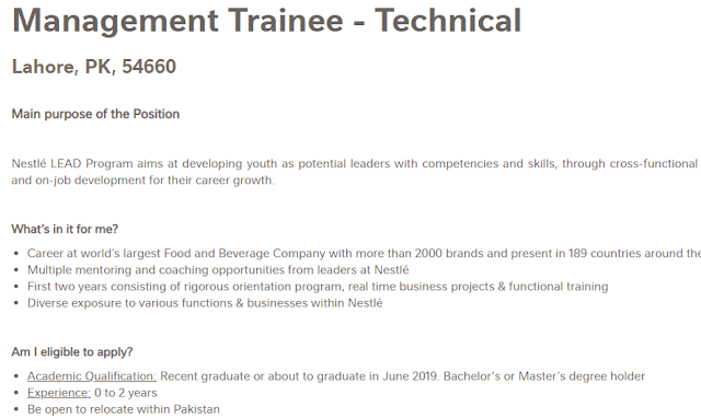 Nestle Pakistan Management Trainee Program 2019 – Monthly Stipend 45,000/-