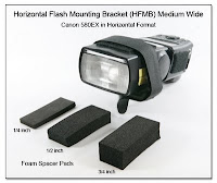 CP1104H: Horizontal Flash Mounting Bracket (HFMB) Medium Wide - Canon 580EX in Horizontal Format (3 Sizes of Foam Spacer Pads Shown)