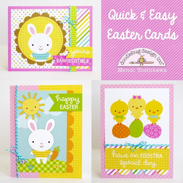 Doodlebug Easter Parade & Lawn Fawn Happy Easter Quick & Easy Cards by Mendi Yoshikawa.