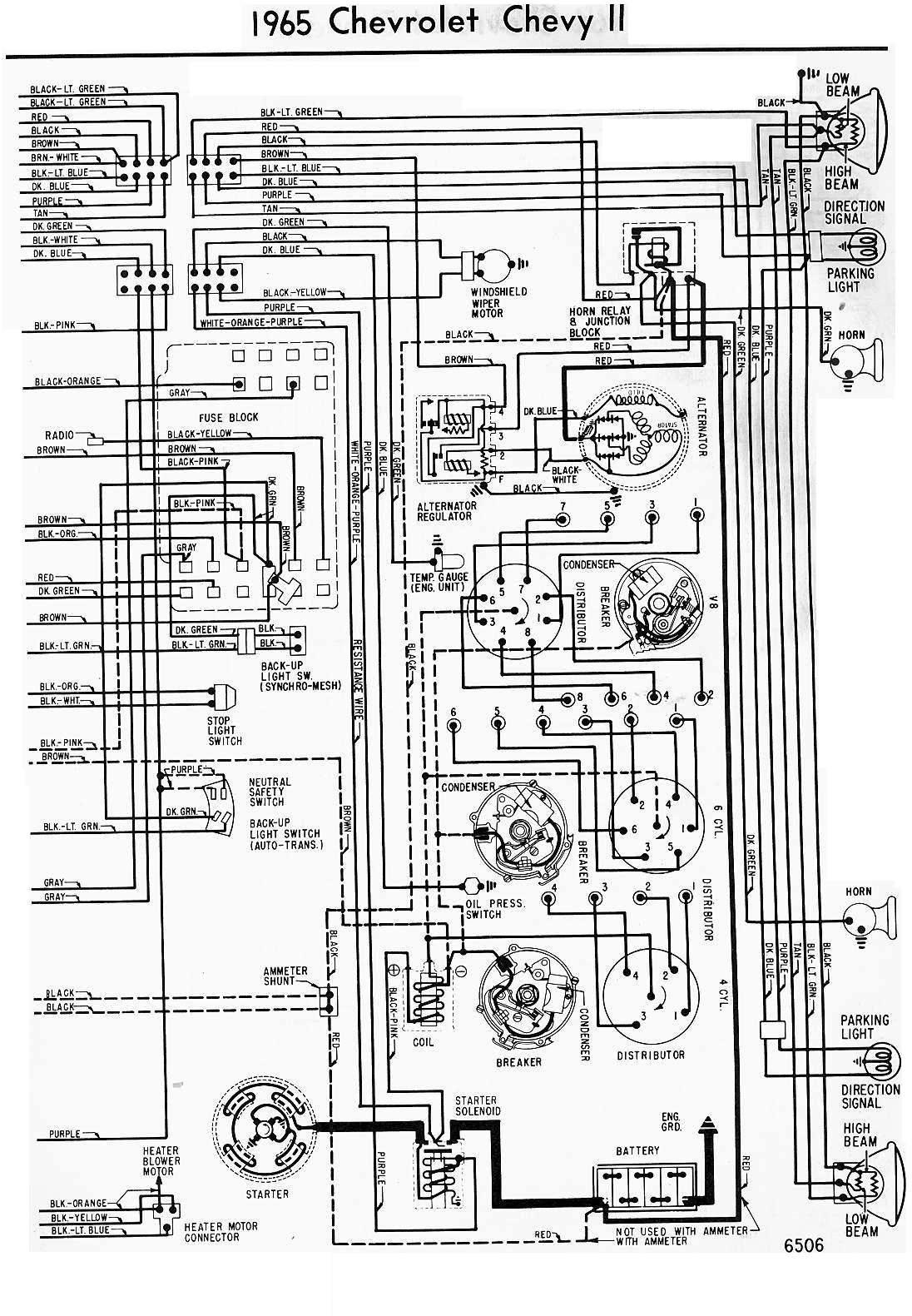 1965 chevy 283 alternator wiring diagram 1965 chevrolet chevy ii wiring diagram | all about wiring ... 1965 chevy el camino wiring diagram also gm turn signal switch