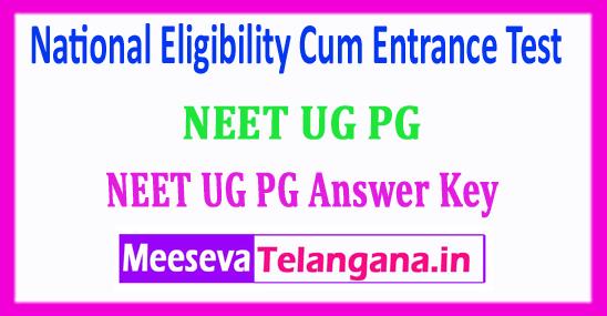 NEET PG UG Answer Key 2018 National Eligibility Cum Entrance Test 2018 Answer Key Download