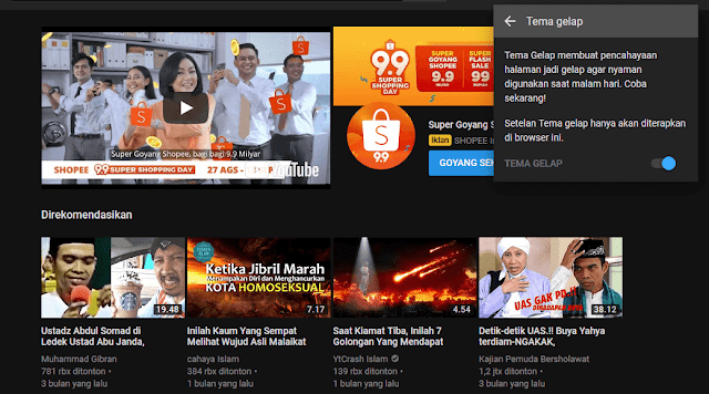 Mode Malam Youtube