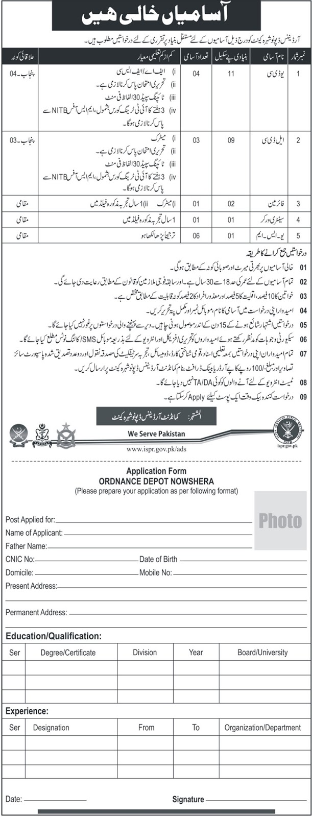 Jobs in Pakistan Army 2018 at Ordnance Deport Nowshera Cantt