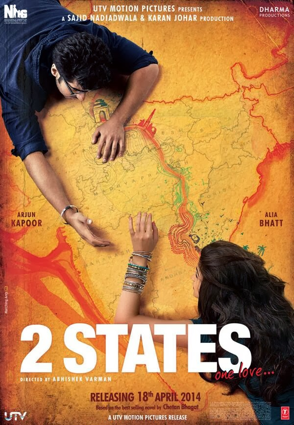 Arjun and Alia captured on a map of India in Poster of 2 States, one love movie