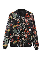 floral print bomber jacket, bomber jacket, sammydress