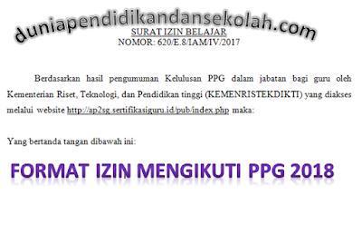 Format Izin Kepala Sekolah/ Ketua Yayasan Untuk Mengikuti PPG/ PPGJ 2018