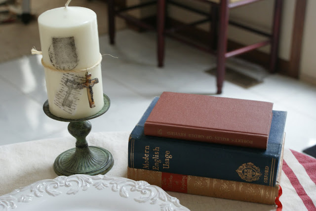 vintage patina'd candlestick stamped candle