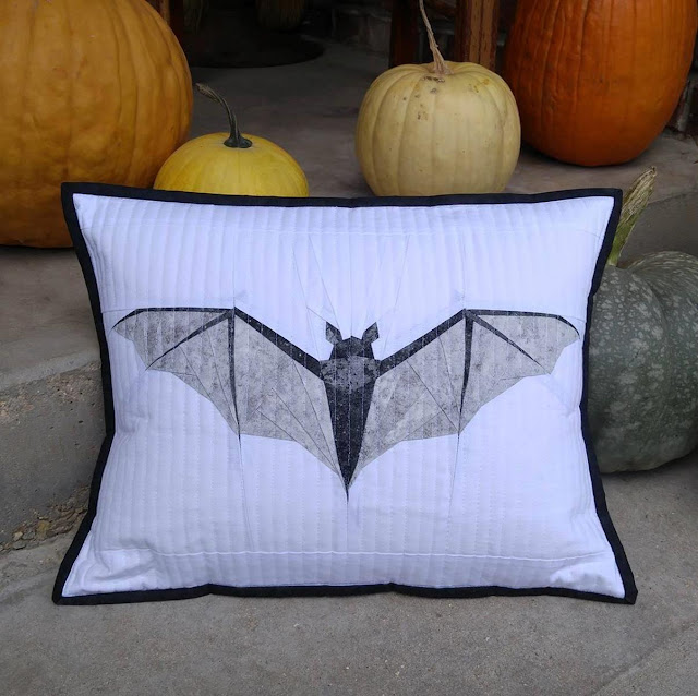 Midnight Bite paper pieced bat quilted pillow