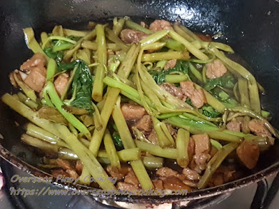 Adobong Kangkong with Oyster Sauce - Cooking Procedure
