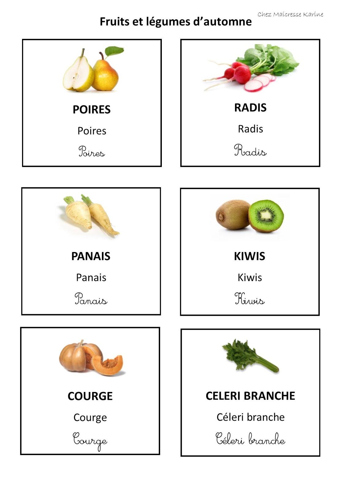 Chez maicresse karine cartes de nomenclature fruits et - Fruits automne maternelle ...