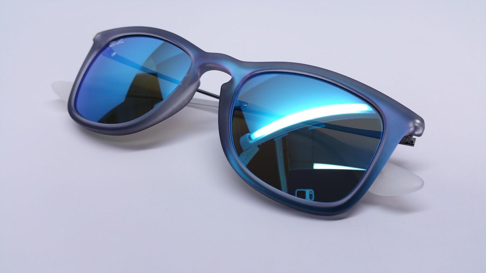 20cdfb936f1 Ray-Ban RB 4221 6170 55 Shot Blue Rubber Sunglasses