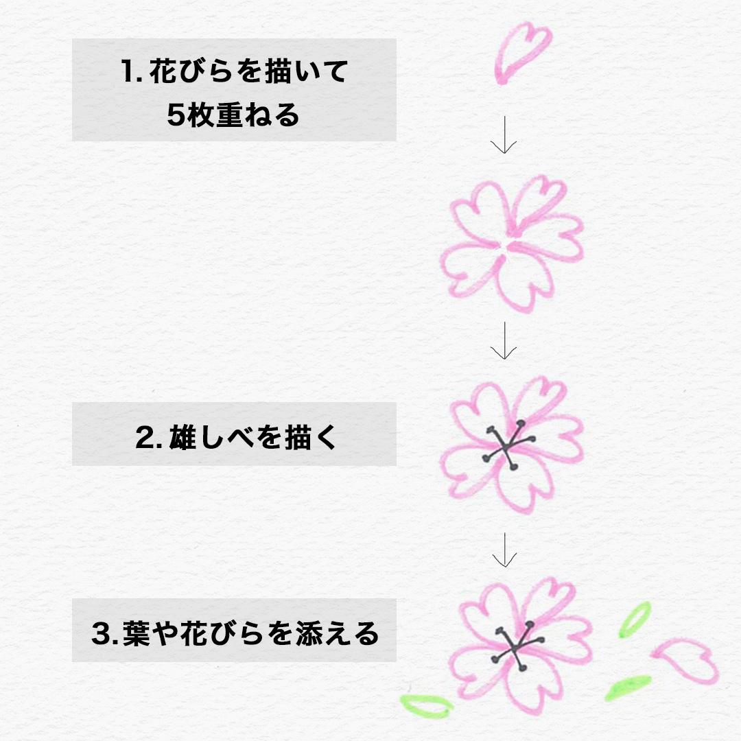 最初はうまく描けなくても、3つのステップで簡単に桜が描けます! ①花びらを描く ハートを描く気持ちで、5枚描きます。 ②雄しべを描く