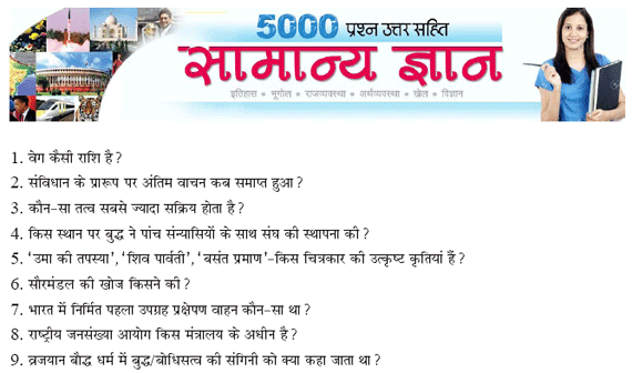 5000 General Knowledge Questions Answers In Hindi