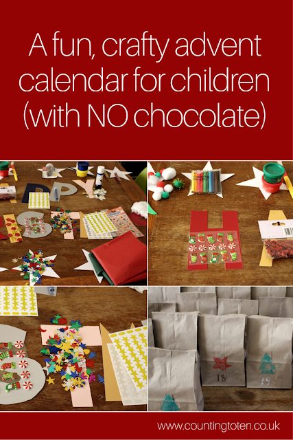 A fun, crafty advent calendar for children (with no chocolate) and images of the contents of the advent calendar
