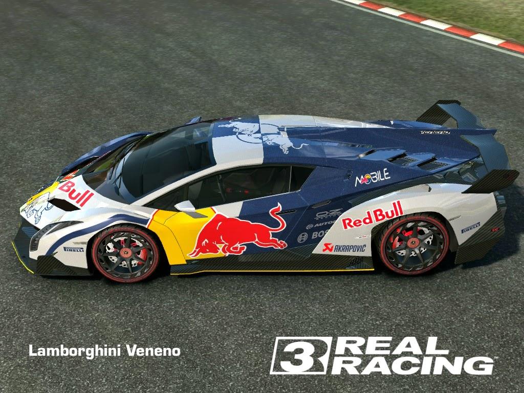 Lamborghini Veneno Livery >> REAL RACING 3 SKIN: 2013_lamborghini_veneno-SKIN 2 FACE RED BULL - LAMBORGHINI VENENO (HD LIVERY ...