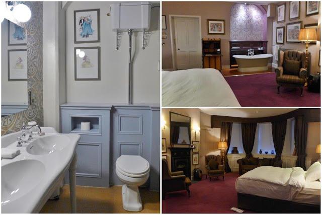 Baño y habitación en Castle Leslie Estate