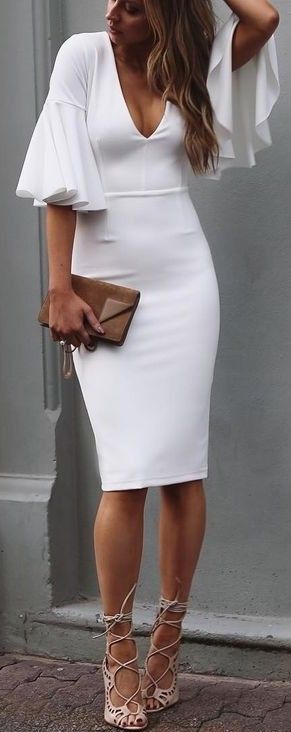 Chic Date Look Flattering White Dress With Puffy Sleeves
