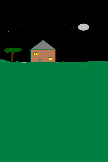 Doodle of a very simple, small house; tree beside it; dark sky and round moon in the background; lawn in the foreground