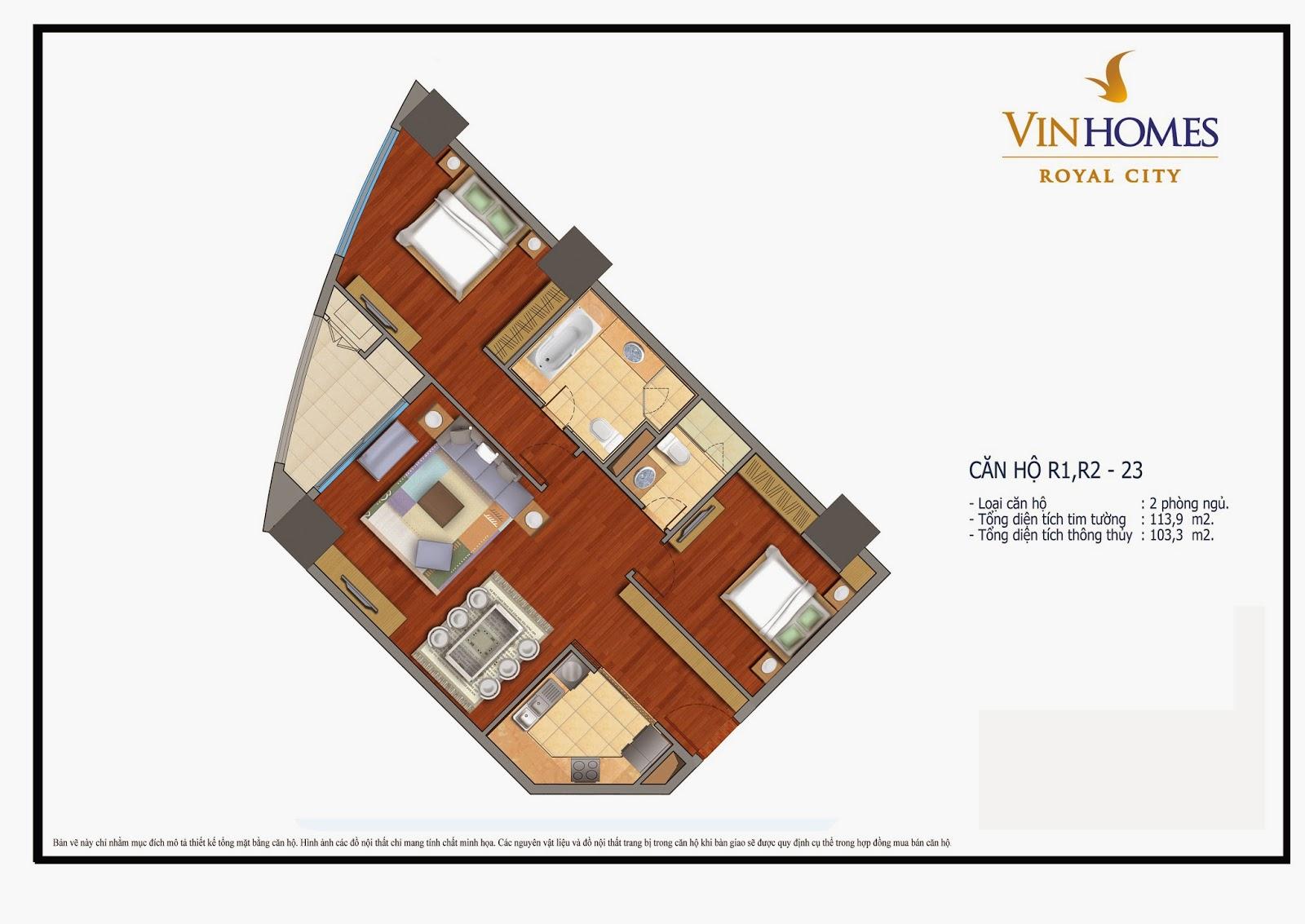 Mặt bằng căn hộ chung cư Vinhomes Royal City