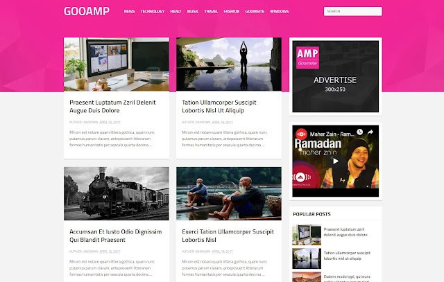 Gooamp AMP Responsive Personal Blog Tutorial Tips and Tricks Blogger Template Theme