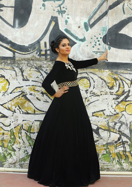 Srimukhi in Black Long Gown