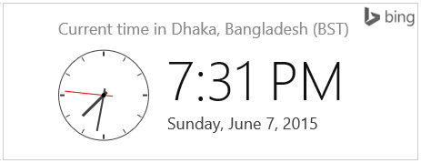 Bing Clock on Search Result