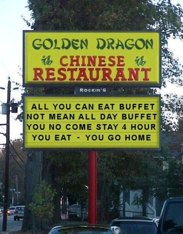 Chinese Restaurant All You Can Eat Sign