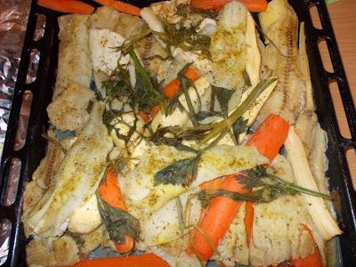 Preparare file de cod la cuptor cu legume