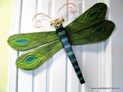 peacock feather art dragonfly
