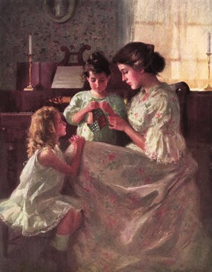 mother and children sewing