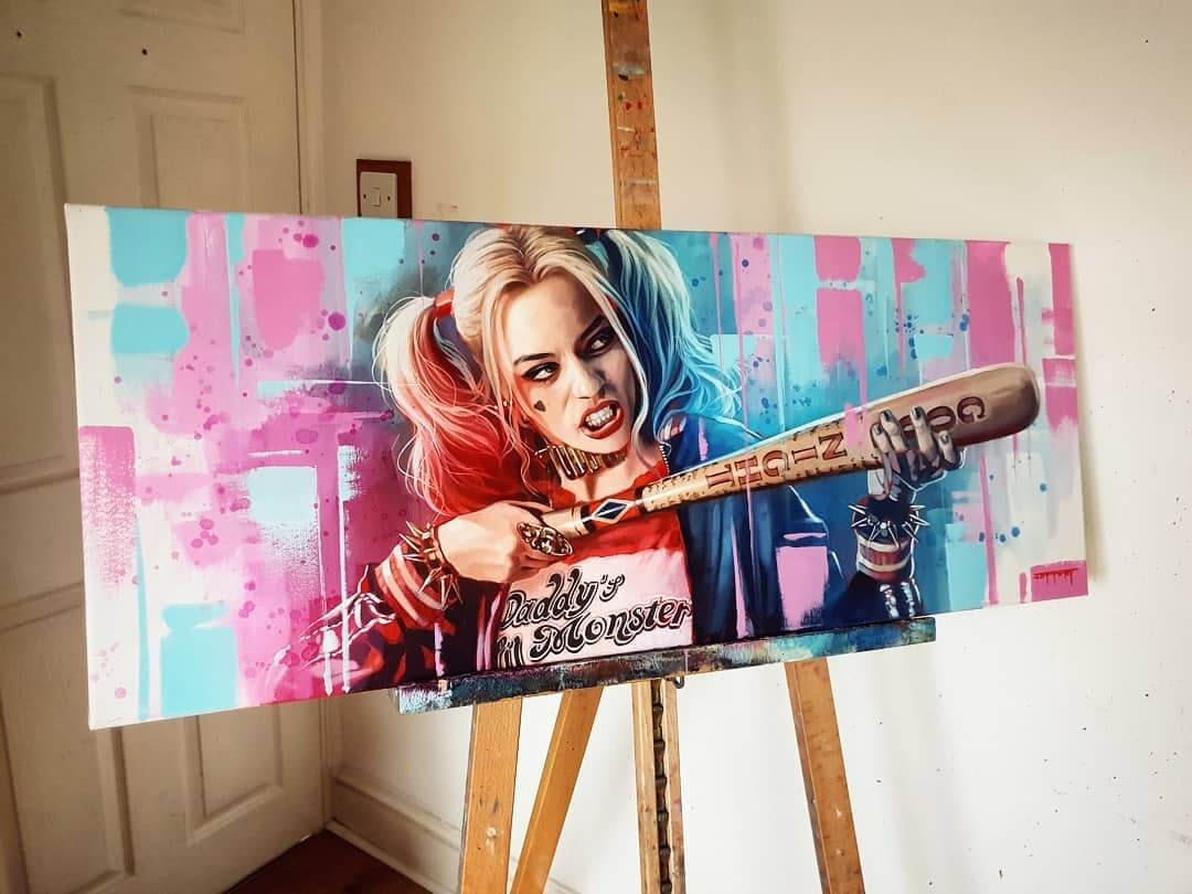 04-Harley-Quinn-DC-Margo-Robbie-Ben-Jeffery-Superhero-and-Villain-Movie-Paintings-www-designstack-co