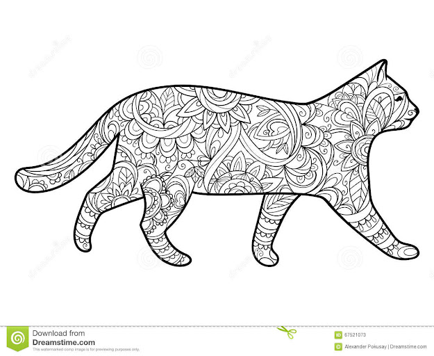 Mandala Cat Coloring With Book Adults Vector Illustration Anti Stress Adult  Zentangle Style Black White Lines