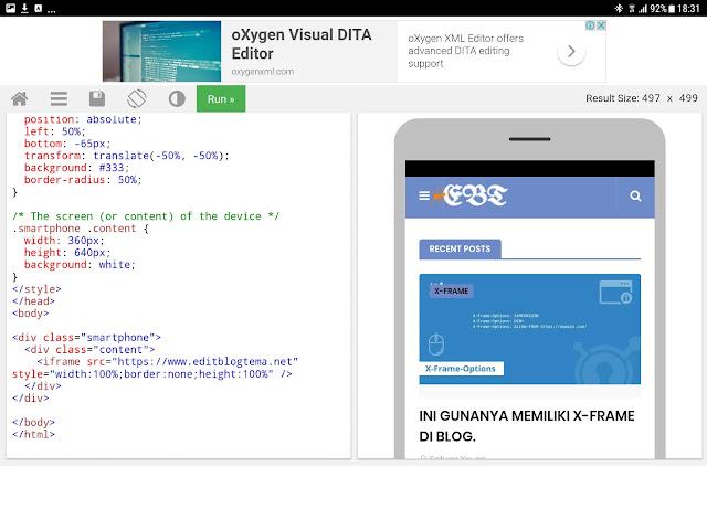 setelah run di klik maka kotak peragaan disebelahnya menampilkan halaman mobile editblogtema