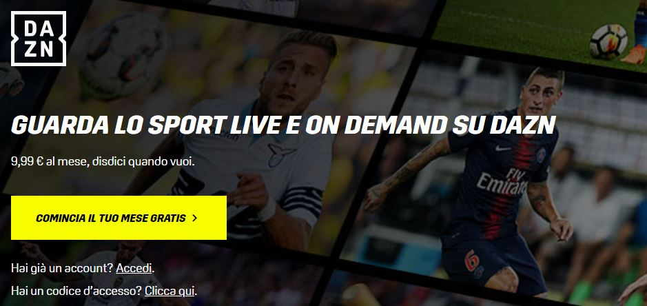 login dazn su browser internet con computer