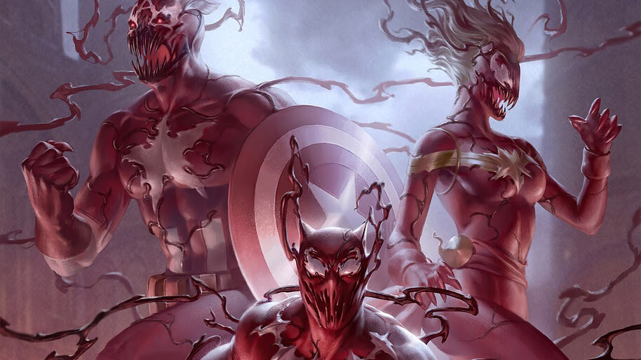 Symbiote, Black Panther, Captain America, Captain Marvel, 4K, #6.1224