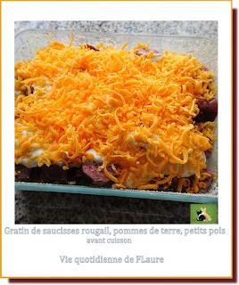 Vie quotidienne de FLaure : Gratin de saucisses rougail, pommes de terre, petits pois