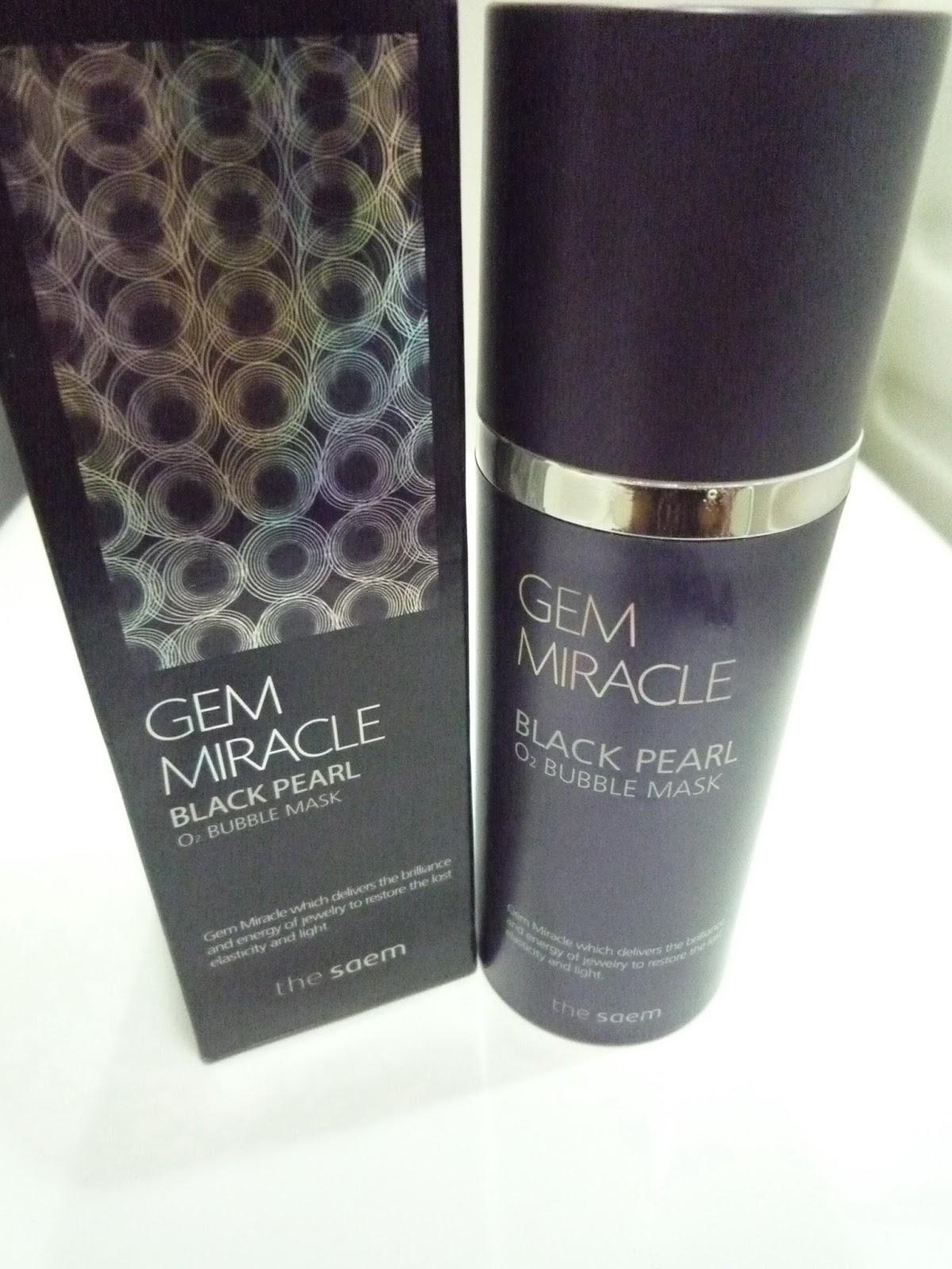 Maruruland: [ 育成美肌 ] The Saem Gem Miracle Black Pearl O2 Bubble Mask 黑珍珠O2泡泡面膜